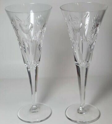 Pair Of Waterford Crystal Millenium Love Hearts Champagne Flutes