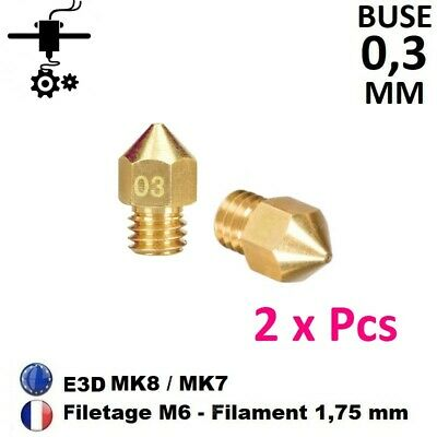 2 x Buse Nozzle 0.3mm M6 Thread Filament 1.75mm Extrudeur MK8, MK7 Imprimante 3D