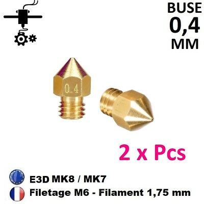 2x Buses Nozzle 0.4mm M6 Thread Filament 1.75mm Extrudeur MK8, MK7 Imprimante 3D