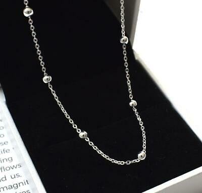 b5402f002fe81 Simple Tiny Beads 925 Sterling Silver Rose Gold Balls Pendant Chain Necklace