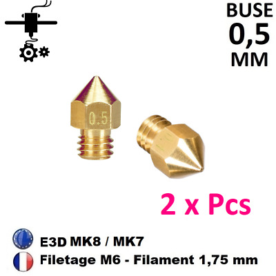 2 x Buse Nozzle 0.5mm M6 Thread Filament 1.75mm Extrudeur MK8, MK7 Imprimante 3D