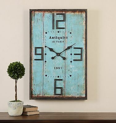 "Xxl 36"" Antiqued Aged Blue Face Mahogany Frame Wall Clock Vintage Decor"