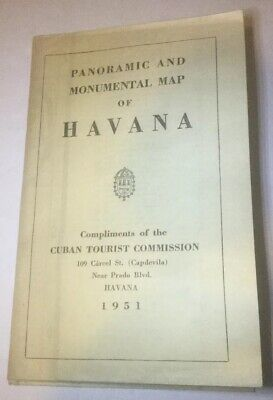 Rare 1951 Panoramic And Monumental Map Of Havana Cuban Tourist Commission.