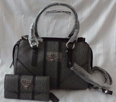 d5cee42b31 New Guess Nichols Logo Box Satchel Handbag Purse With Matching Wallet