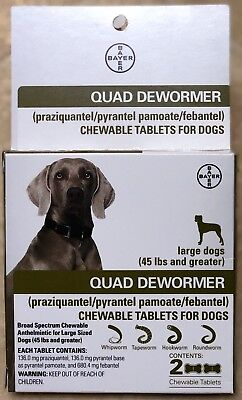 Bayer Quad Dewormer for Large Dogs 45 lbs and greater 2 Tablets