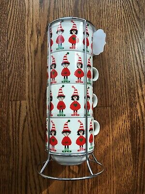 New Grace's Teaware Stackable Fine Porcelain 4 Cups Set Christmas Elves Holiday