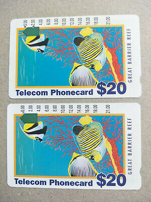 Used $20 Tourist Great Barrier Reef Phonecard Prefix 284 No Copyright/Copyright