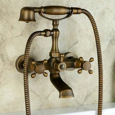 Classic Antique Brass Wall Mounted Clawfoot Tub Filler Bathtub Faucet Handshower