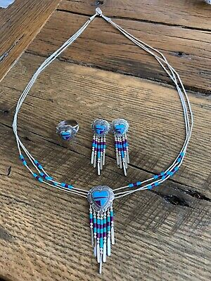 Native American Turquoise / Purple Necklace Heart Pendant, Earrings & Ring