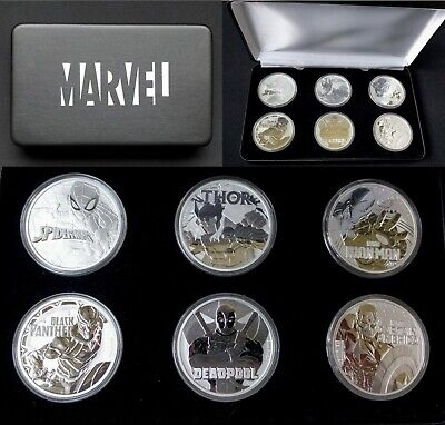 Marvel 6 Coin Complete Silver Collectors Set Custom Display Box Tuvalu 2017-2019