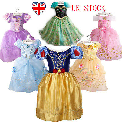 Kids Girls Princess Costume Fairytale Dress Up Belle Cinderella Aurora Rapunzel-