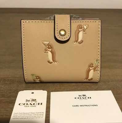 9f2a0081914f COACH 1941 Small Trifold Wallet Penguin Champagne In Glovetanned Leather NWT !
