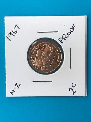 1967 Beautiful 2 Cent Coin Proof New Zealand Coin Start Of Decimal Currency