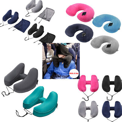 U/H Shape Inflatable Air Travel Pillow Cushion Neck flight Comfortable With Hat