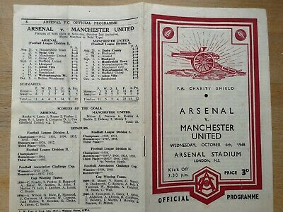 Football programme official Arsenal vs. Manchester United FA Charity Shild 6.10.