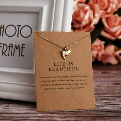Simple Life Is Beautiful Bird Charm Pendant Necklace Womens Jewellery Gifts New