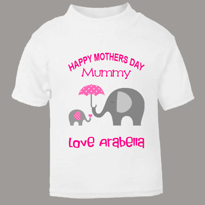 b60d8005 Happy Mothers Day Personalised Baby Child Tee Kids T Shirt Funny Elephants  Pink