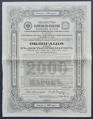 Poland / Russia - Warschau Vienna Railroad 1901 - 4% bond for 2000 mark