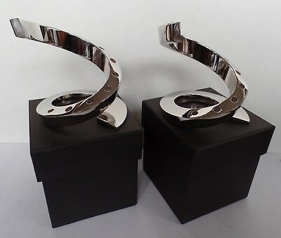 Lot 2 x Dansk Nickel Plate Spiral Tiny Taper Candle Holder - New in Box