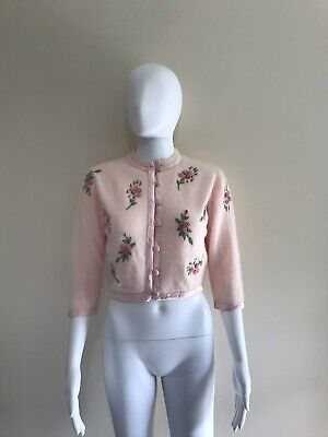 Vintage Pink Angora 50s Cropped Cardigan Embroidered Flowers 10