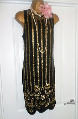 Vintage 1920s Style Gatsby Flapper Charleston Sequin Beaded Dress Size 12/14 NEW
