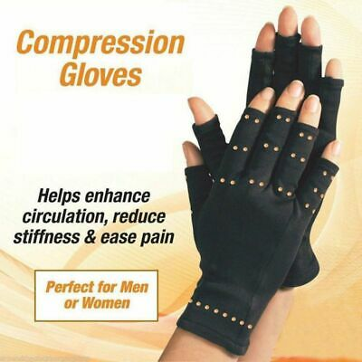 QUALITY Fingerless Arthritis Gloves w Real Copper Fit Compression for Joint Pain