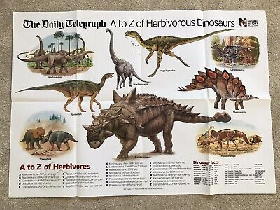 The Daily Telegraph wallchart -A to Z of Herbivorous Dinosaurs- A1 poster