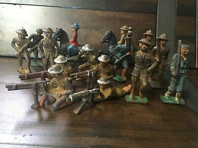 Vintage Lot of 15 Solid Cast Iron Toy Soldiers possibly WWI dress