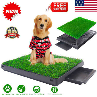 Dog Grass Pad Puppy Pet Potty Training Pee Indoor Toilet Trainer Mat Turf W/Tray