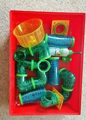 Hamster Small Rodent Cage accessories - tubes, water bottle, wheel, ladder