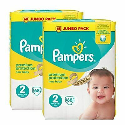 (2 x 68 Pack) Pampers Size 2 New Baby Nappies Jumbo Pack (Total 136)