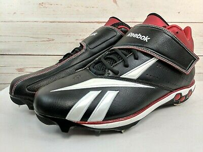 1b7f082eb9e New Mens Reebok Pro Cooperstown Low Metal Baseball Cleats Black White Red  Sz 13M