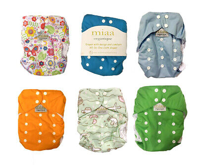 Miaa Organic Certified, All in one Reusable Nappy Nappies, 0-36 Months, 6
