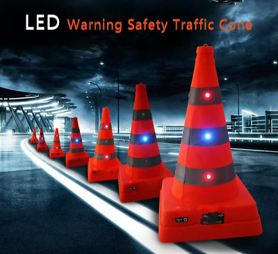 LED light up ,flashing, Pop up safety traffic cone, usb rechargeable