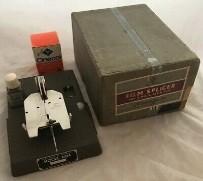Nice Vintage Bell & Howell Model 604 8mm & 16mm Cine Film Splicer on Metal Base