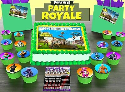 FORTNITE PARTY PACK Icing 1 CAKE TOPPER 24 x CUPCAKE 12 x INVITES 12 x THANKS