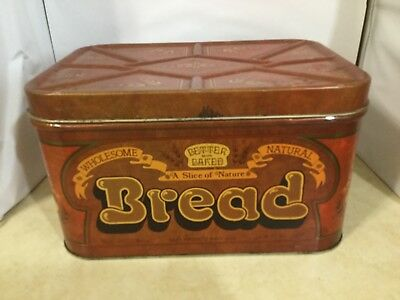 Vintage Bread Box Tin brown yellow and gold Butter Baked with wheat design