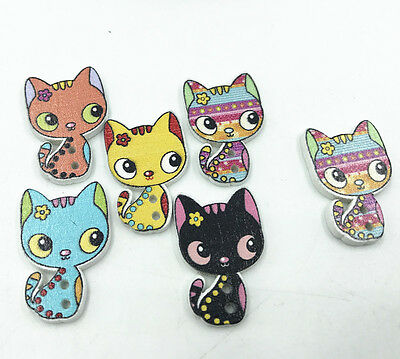 25pcs Mixed color Printed cat buttons Wooden decoration Sewing Scrapbooking 26mm