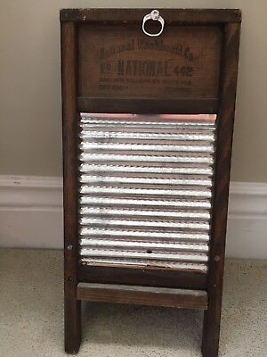 Vintage National Washboard Co No. 442  Wood Tin With Clothes Pin Holder/pins