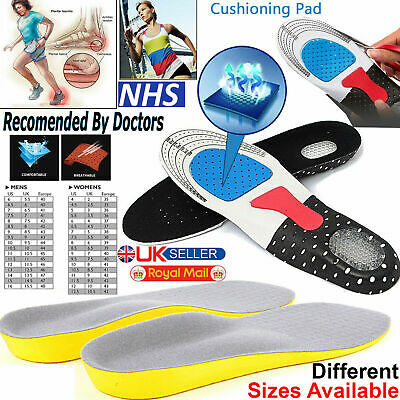 Work Boots Orthotic Foot Arch Support Heel Shoe Inserts Gel Massaging Insoles Uk