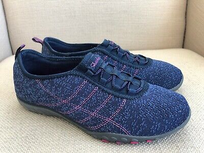 wholesale price los angeles discount sale SKECHERS BREATHE EASY Relaxed Fit Blue Slip On Sneakers US ...