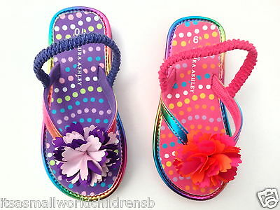 LAURA ASHLEY pretty infant girls SANDALS uk shoe 6 10 floral flip flops BNWT