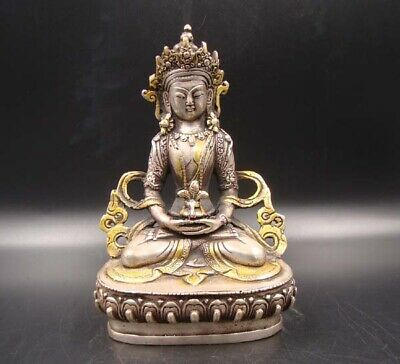 160mm Collectible Handmade Carving Statue Buddha Copper Silver Gilt Religion