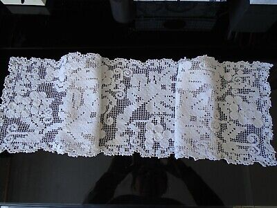 Vintage 1940's handmade off white lace and embroidered small table runner