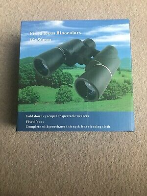 Fixed Focus Binoculars 10x50mm With Pouch Neck Strap And Lens Cleaning Cloth