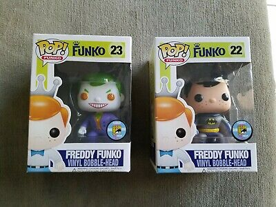 Funko pop 2 Lot Freddy Funko Batman #22 Freddy Funko Joker #23 SDCC 2013...