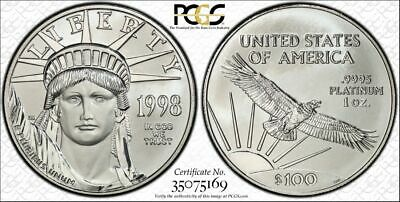 1998 $100 Platinum Eagle -PCGS MS68 Certified!  1 oz. PURE PLATINUM Coin (A4126)