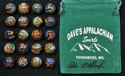 DAS 2014 *CRYSTAL TEST #5~20~ Gorgeous Colored Swirls w/Signed Marble Bag  HTF