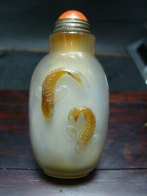 Exquisite Chinese AGATE hand carved snuff bottle    - See Video   8