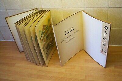 Antique Book Picture Story of Chinese Old Farming, bifold pages painting on silk